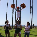 Cheerleaders providing encouragement along the way
