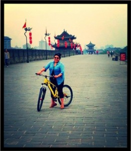 Rich biking around the 9-mile long wall surrounding the city of Shanghai