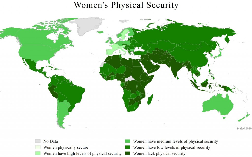Women in the world do not have enough physical security