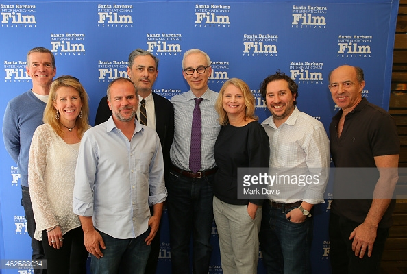 Producer's from left to right: Robert Lorenz of 'American Sniper,' Lisa Bruce of 'The Theory of Everything,' Jeremy Dawson of 'The Grand Budapest Hotel,' John Lesher of 'Birdman,' moderator Glenn Whipp and producers Cathleen Sutherland of 'Boyhood,' Teddy Schwarzman of 'The Imitation Game,' Jon Kilik of 'Foxcatcher,'