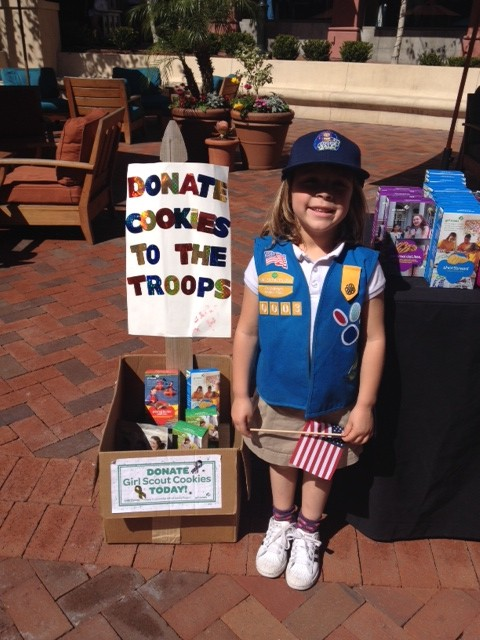 """Girl Scouts collect cookies for Soldiers!"" Picture by Erin Maloney"