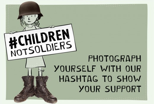 UN Campaign #ChildrenNotSoldiers to raise international awareness and increase support to end child soldiers by 2016