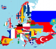 Flags and map of Europe