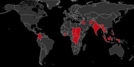 Map of countries using child soldiers in their armed forces