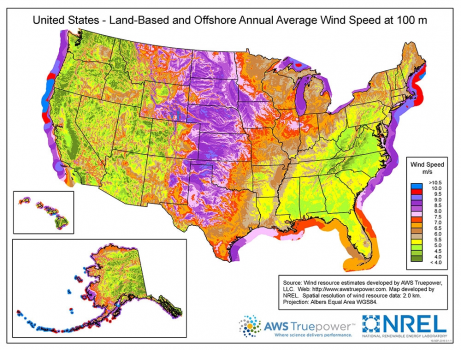 Land based and offshore annual average wind speed at 100m. Source: NREL