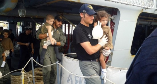 Italian Coast Guard rescuing two children in the Mediterranean sea