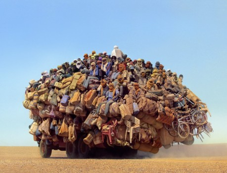 Immigrants traveling Sahara desert to reach Tripoli, Libya.