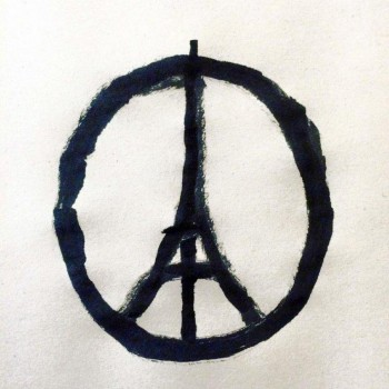 "A handout photo provided on November 14 by Jean Jullien Studio Ltd as a symbol to support the people in French and show the ""#PeaceForParis"" logo."