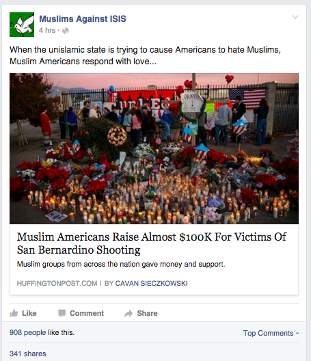 Barely six days after the shooting in San Bernardino, Muslim Americans raised nearly 100k to support the victims.