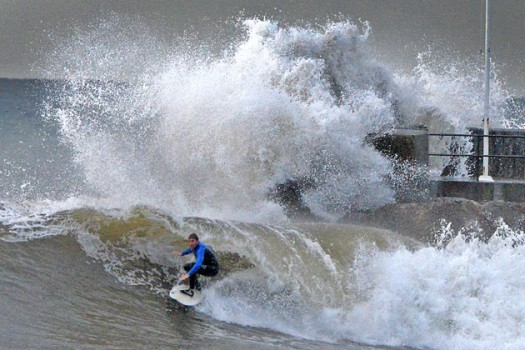 The opening of the Santa Barbara Harbor is a goldmine for surfers during the El Nino.