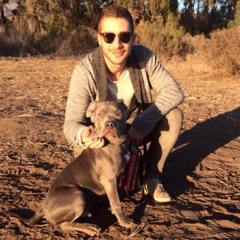 Julien Sanavio and Walter, his 6 month old Pit Bull