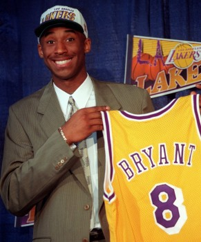 Kobe Bryant getting drafted to the La Lakers twenty years ago. Look at the smile.