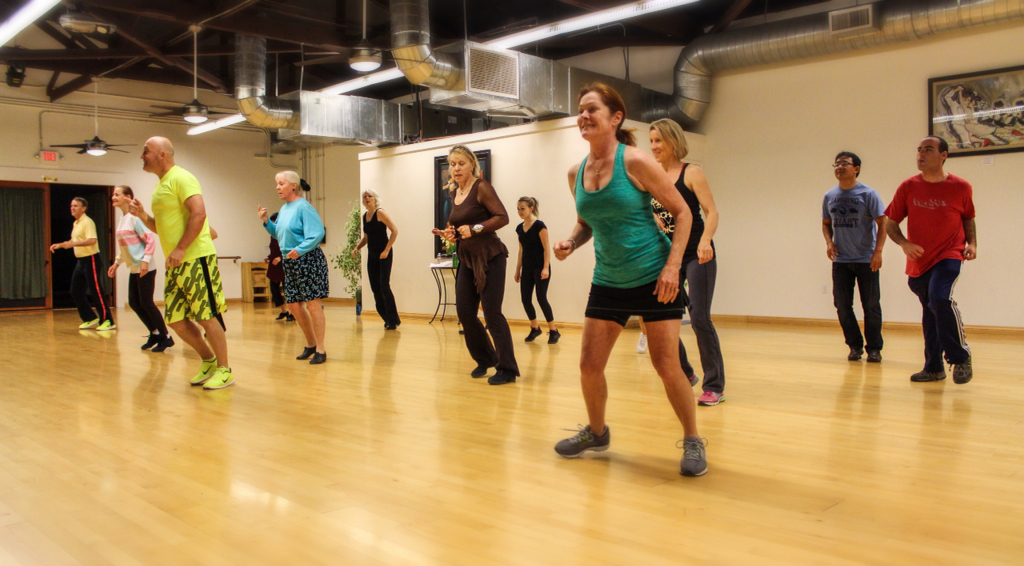 The turnout was great when dance class LaBlast Dance Fitness started at the Santa Barbara Dance Center. Instructor Nigel Clarke (in yellow) made sure everybody were able to follow the steps to dance and get a great workout.