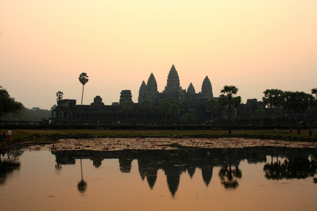 Ankor Wat by sunrise. Located in Siam Reap, Cambodia.