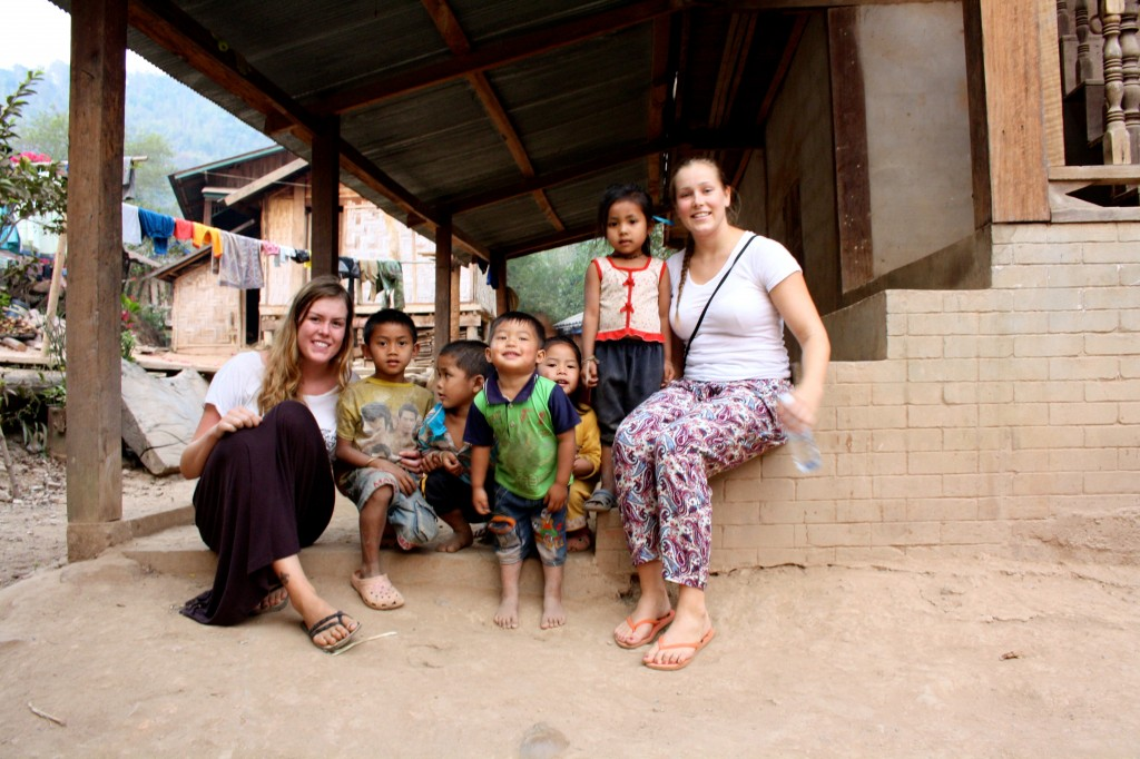 Playing with local children in a small village in Laos.