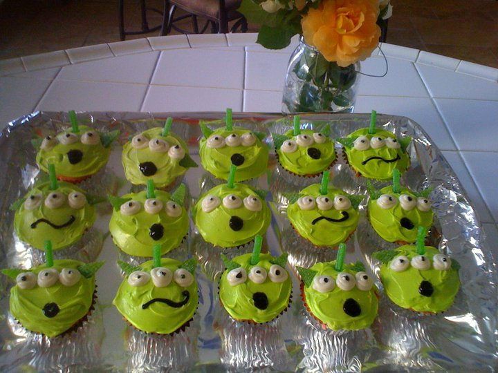 Homemade ToyStory Alien Cupcakes!  Happy Birthday Josh! (Picture by Jennifer Vogel) P.S Jennifer made them!