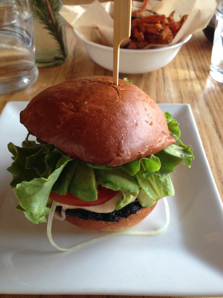 Enjoying a delicious veggie burger over the long weekend.