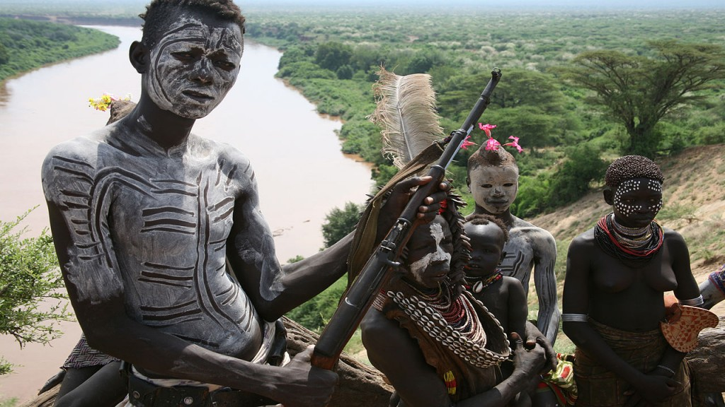 Child soldiers in the Omo River Valley in Ethiopia