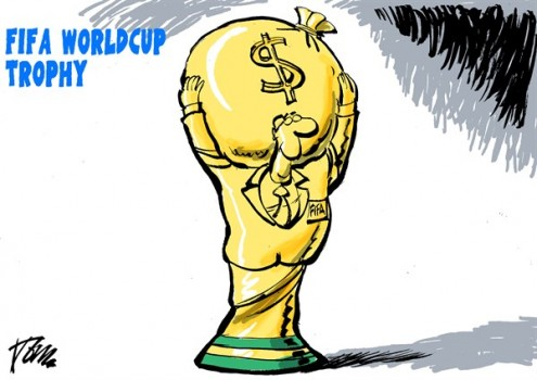 Brasil has spent $11 Billions to prepare the last World Cup but FIFA takes away most of the money generated during the event.