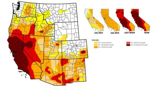 Drought levels for western region of the Unites States (July, 2014)
