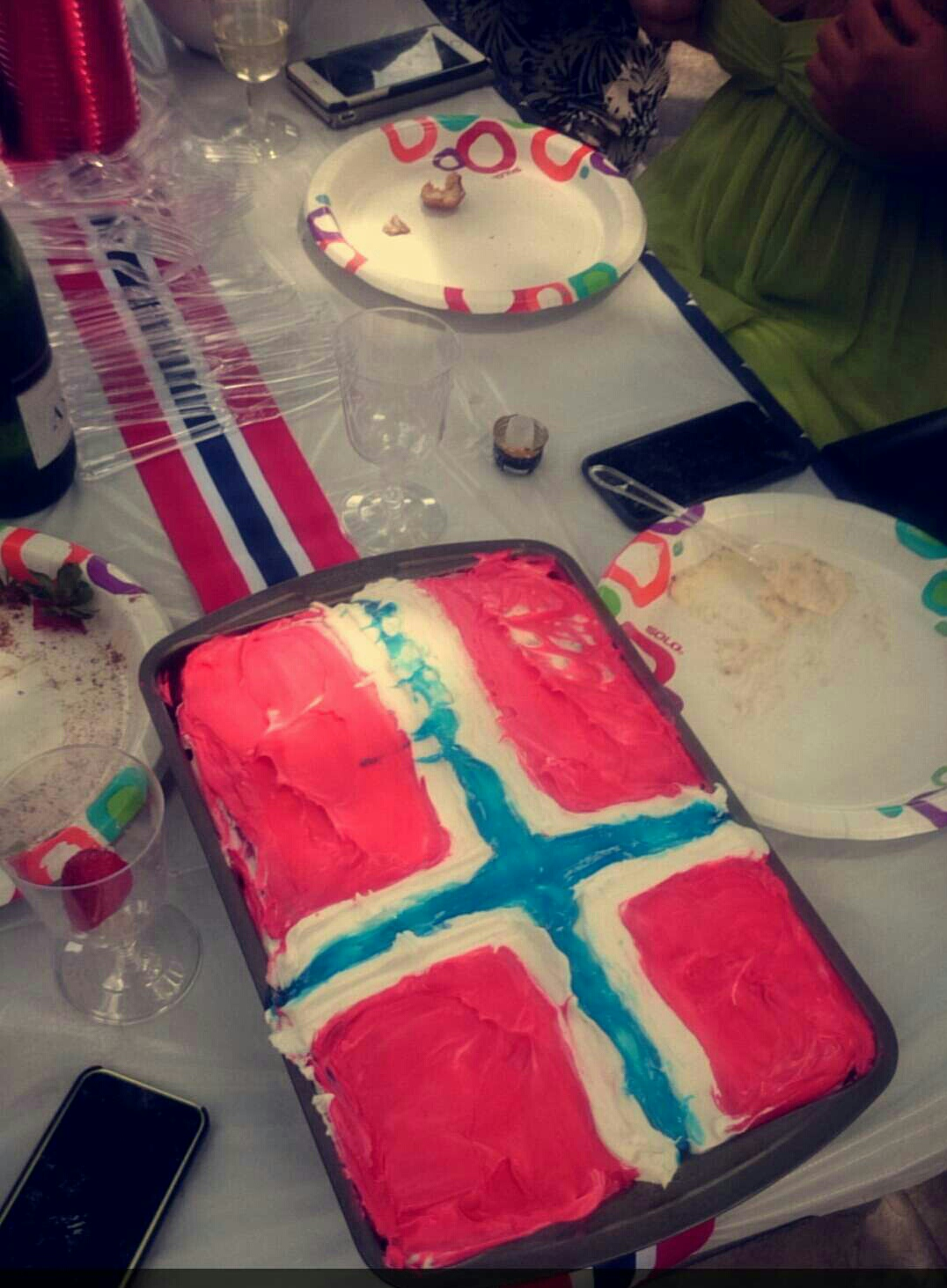 Mia and I made a cake with the Norwegian flag to celebrate our constitution day. Hyper link to constitution day. -Julie Stensrud