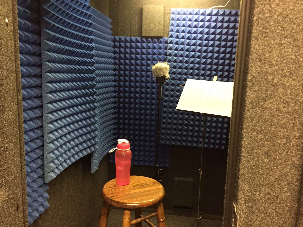 "Jennifer's ""voice over"" booth!   Doing voice overs can be a great way to earn extra money. Some companies, like Talk Shop offer classes for as little as $49, live via phone or Skype, so you can take them at home no matter where you live. -Jennifer Vogel"