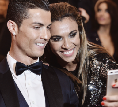 Brazilian superstar Marta taking a selfie with Golden Ball winner Christiano Ronaldo