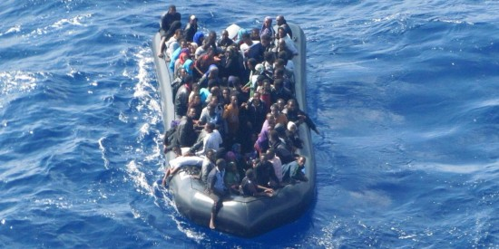 Immigrants trying to reach Italy.