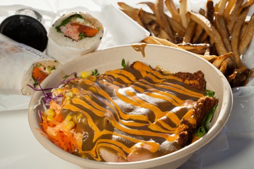 The Chicken Katsu, Crab Roll/Burrito, and the Ponzo Fries.