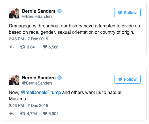 Bernie Sanders Responds to Donal Trump's Anti-Muslim Proposlal