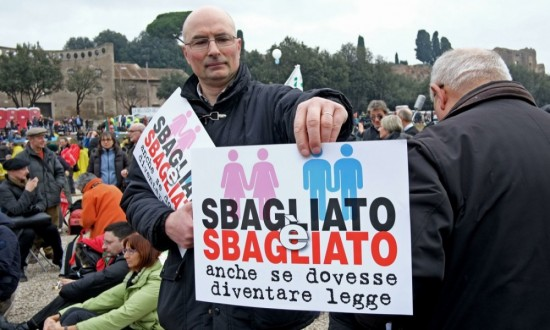""" Wrong is wrong, even if it will become law"" was the most popular slogan among people who attended the event last Saturday in Rome"