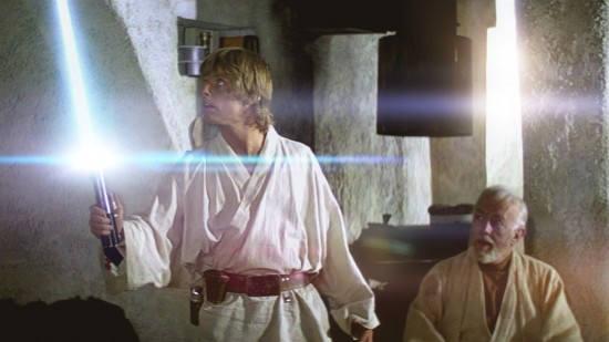 Luke's Supernatural Aid is in the form of a Lightsaber