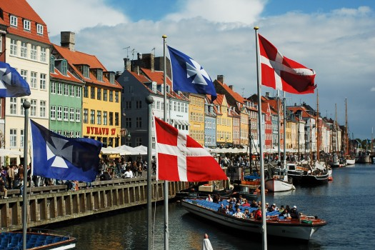Nyhavn canal as seen from Kongens Nytorv square, Copenhagen, Denmark, Northern Europe.