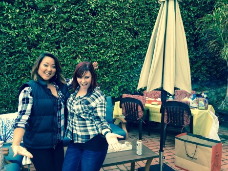 Oh my, look at us #twinning! Black and white plaid is our common denominator at a birthday celebration, and so is our friendship! -Sujin Chon