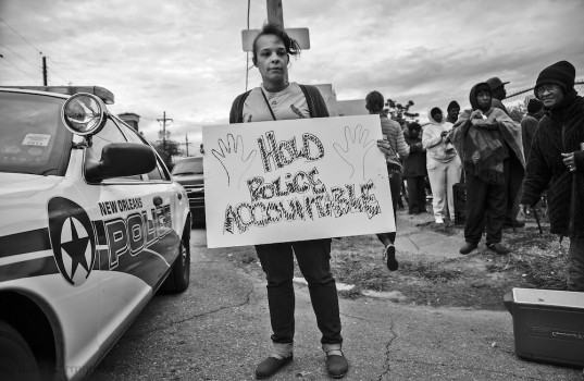 Nov. 22, 2014, Protest in New Orleans against a grand juries decision not to indictite police officer, Darren Wilson for fatally shooting Mike Brown in Ferugson Missouri. It is one of hundreds of protests that have took place across the country since the decision was announced.