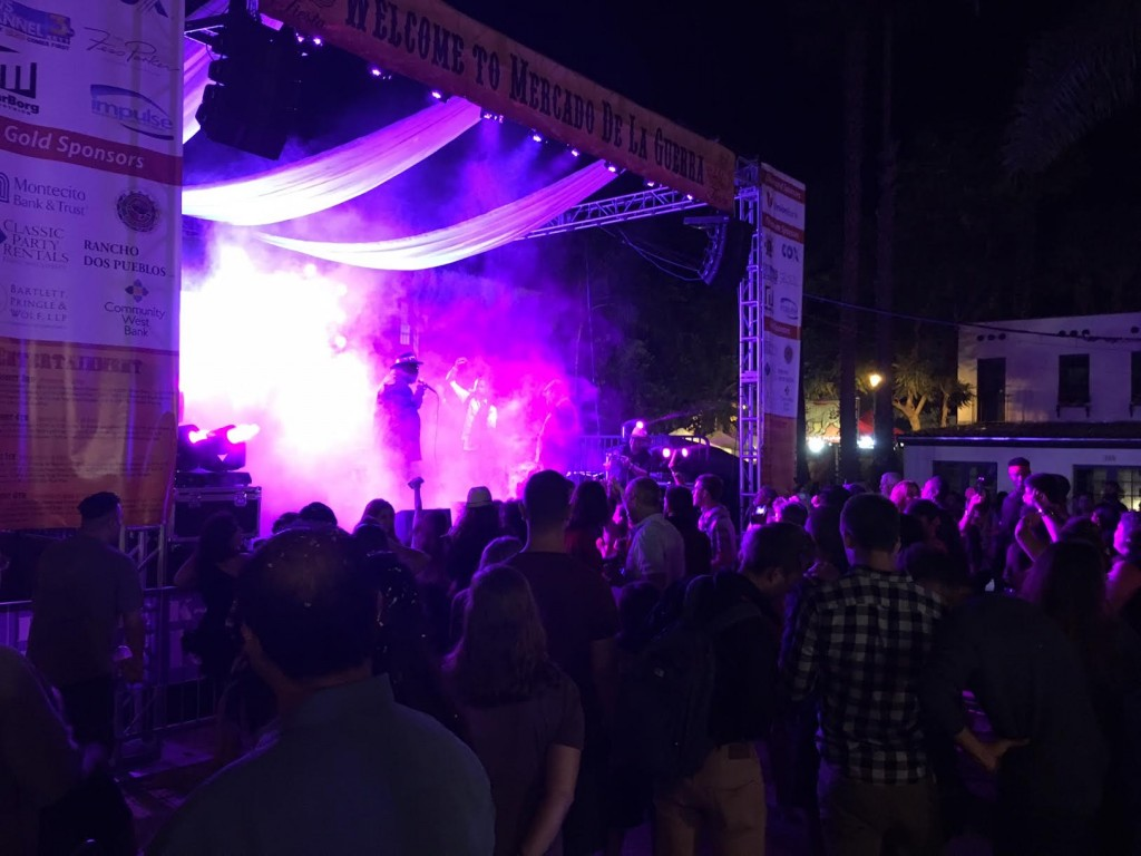 Audience showered in purple smoke as Prince Cover Band in De La Guerra Plaza rocks Fiesta! -Kyran Million