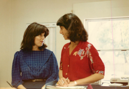 (Left) Lois Phillips, Founding Executive Director of Antioch University Santa Barbara, in the early years with Candice Etz, Student Services staff member.
